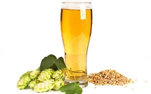 Картинка Пиво Хмель Белом фоне Стакана Зерна Пища