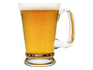 Фотографии Пиво Кружке Пене Белый фон Еда
