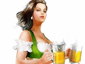 Обои для рабочего стола Пиво Официантки Белом фоне Кружки девушка
