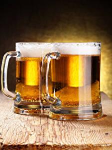 Фотографии Пиво Доски Кружки 2 Пене Пища