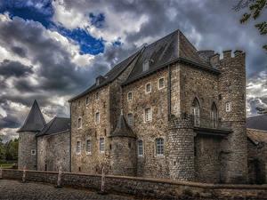 Фотографии Бельгия Замки Забор HDRI Raeren Города