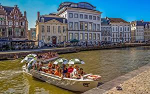 Фото Бельгия Гент Лодки Дома Зонт Города