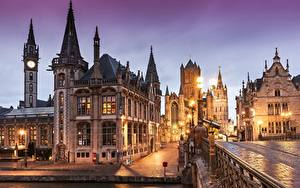 Обои Бельгия Гент Вечер Дома Уличные фонари Улице Города