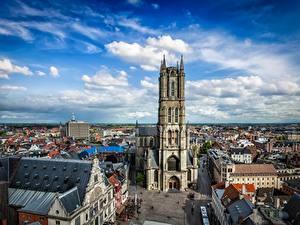 Обои Бельгия Гент Дома Собор Небо Улица Башни Облака St Bavo's Cathedral