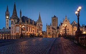 Фотография Бельгия Гент Дома Вечер Мосты Улиц Уличные фонари Башня