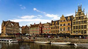 Фотография Бельгия Гент Здания Причалы Водный канал