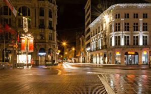 Картинка Бельгия Дома Улица Ночные Уличные фонари Antwerpen Города