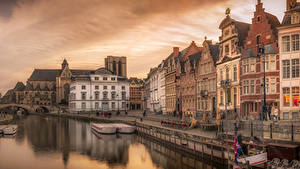 Картинки Бельгия Дома Пристань Вечер Водный канал Улица Gent