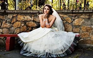 Фото Скамья Невеста Платья Сидит Девушки