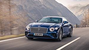 Фото Bentley Синий Движение Continental GT Sequin Blue автомобиль