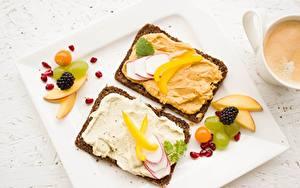 Фото Ягоды Хлеб Бутерброд Завтрак