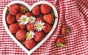 Фотография Ягоды Ромашки Клубника Сердце Красные Еда