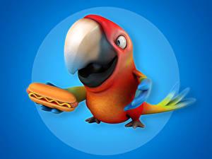 Картинка Птицы Попугаи Хот-дог Клюв 3D Графика Животные