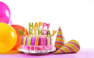 Фотография День рождения Торты Праздники Белый фон