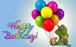 Фотография День рождения Праздники Драконы Воздушный шарик 3D Графика Животные