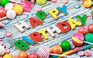 Обои День рождения Сладости Конфеты Английский Слово - Надпись
