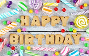Фотография День рождения Сладости Конфеты Доски Английский Слово - Надпись