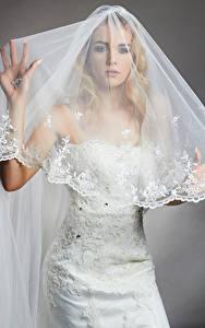 Картинка Блондинка Невеста Платье