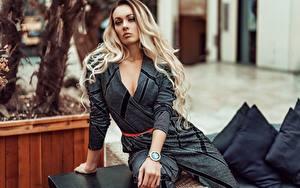 Картинка Блондинки Сидящие Взгляд Рука молодая женщина