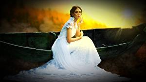 Обои Лодки Шатенка Платья Невеста Сидя Девушки