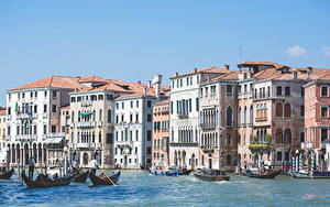 Фотографии Лодки Италия Здания Венеция Grand canal