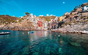 Фото Лодки Италия Здания Скалы Riomaggiore, La Spezia