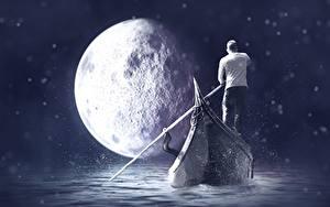 Фото Лодки Мужчины Луна Фантастика
