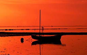 Фотографии Лодки Силуэт Природа