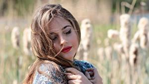 Картинки Размытый фон Волосы Красивая Русые Косметика на лице девушка