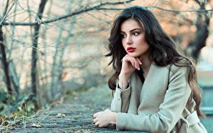 Фото Размытый фон Поза Волос Брюнетка Красивые Молодые женщины Девушки