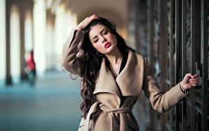 Фотографии Размытый фон Поза Волосы Взгляд Брюнетки Красивые Пальто Девушки