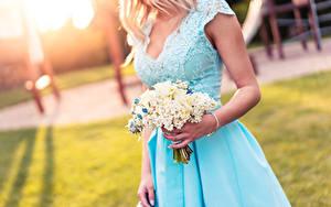Фотография Букеты Боке Блондинки Руки Платье
