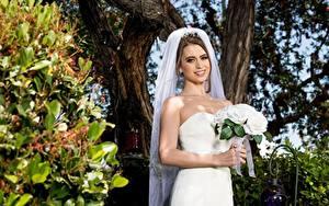 Обои Букет Невесты Платья Улыбается Рука