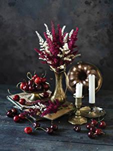 Обои Букеты Свечи Черешня Доски Вазы Еда Цветы