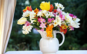 Фото Букет Фрезия Тюльпан Ваза цветок