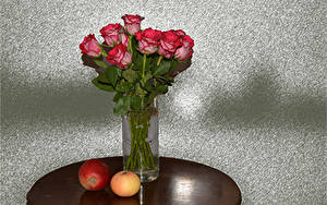 Картинка Букет Роза Яблоки Вазе Красная цветок