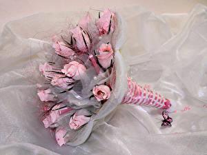 Фотографии Букет Розы Бабочки Розовые цветок