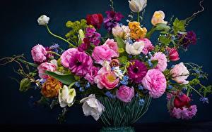 Картинка Букеты Розы Тюльпаны Ваза незабудки, ранункулюсы, желтушник Цветы