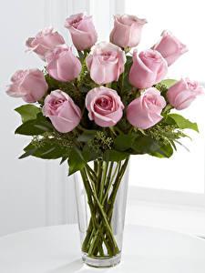Картинки Букеты Розы Вазы Розовая Цветы