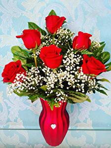 Картинки Букеты Розы Ваза Красный Цветы