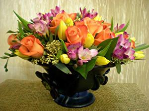 Фотография Букет Тюльпан Розы Фрезия Вазы цветок