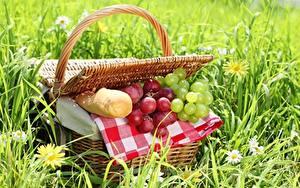 Картинки Хлеб Виноград Траве Корзинка Пикник Продукты питания