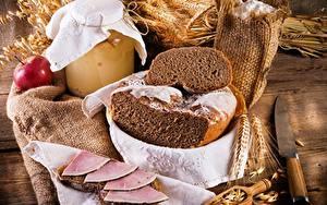 Фотографии Хлеб Ветчина Колос Продукты питания