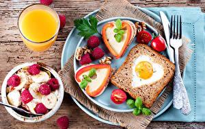 Фото Хлеб Сок Бутерброд Мюсли Малина Помидоры Завтрак Тарелка Яичница Стакана Пища