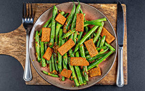 Обои Хлеб Нож Разделочная доска Тарелке Вилка столовая Зерна Green bean Еда