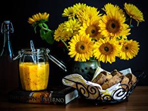 Фотография Хлеб Натюрморт Книга Банке Пища Цветы