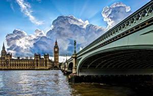 Фотография Мосты Англия Река Лондоне Облака Биг-Бен город