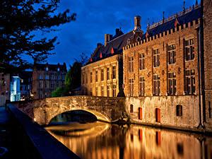 Фотографии Мосты Здания Ночь Водный канал Города