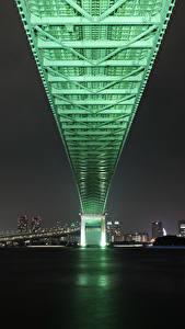 Фотография Мост Япония Токио Ночные Rainbow Bridge Города