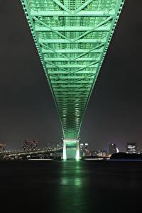 Фотография Мосты Япония Токио Ночные Rainbow Bridge Города